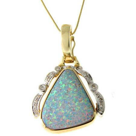 Geniune australian opal & diamond pendant enhancer set 14k gold yellow gold