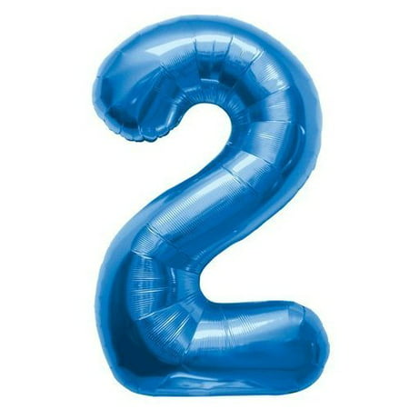 Number 2 - Blue Helium Foil Balloon - 34 - Helium Number Balloons