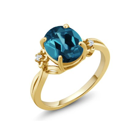 3.03 Ct Oval London Blue Topaz White Created Sapphire 14K Yellow Gold Ring Blue Sapphire 14kt Gold Ring