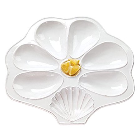 Flat White Slotted Oyster Platter Shell Shaped for Oysters, Sauce, and Lemons ()