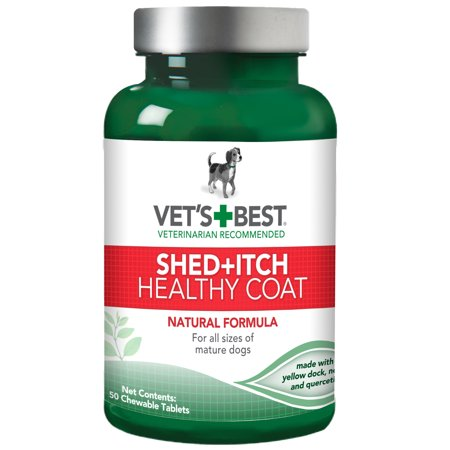 Vet's Best Healthy Coat Shed & Itch Relief Dog Supplements | Relieve Dogs Skin Irritation and Shedding Due to Seasonal Allergies or Dermatitis | 50 Chewable (Best Deworming Tablets For Dogs)