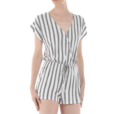 Salt Tree Women's V-Neck Cap Sleeves Cinched Waist Stripe Knit (Heart Romper)