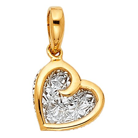 Diamond Cut White & Polisted Yellow Real Italian 14k Solid Gold Heart Charm Pendant No Links Chain Necklace Diamond Cut Baseball Charm