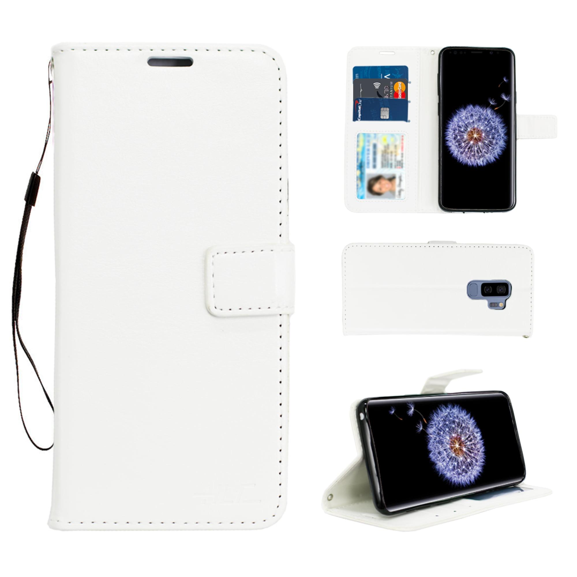 S9 Plus Real Plain Leather Wallet Case -Black