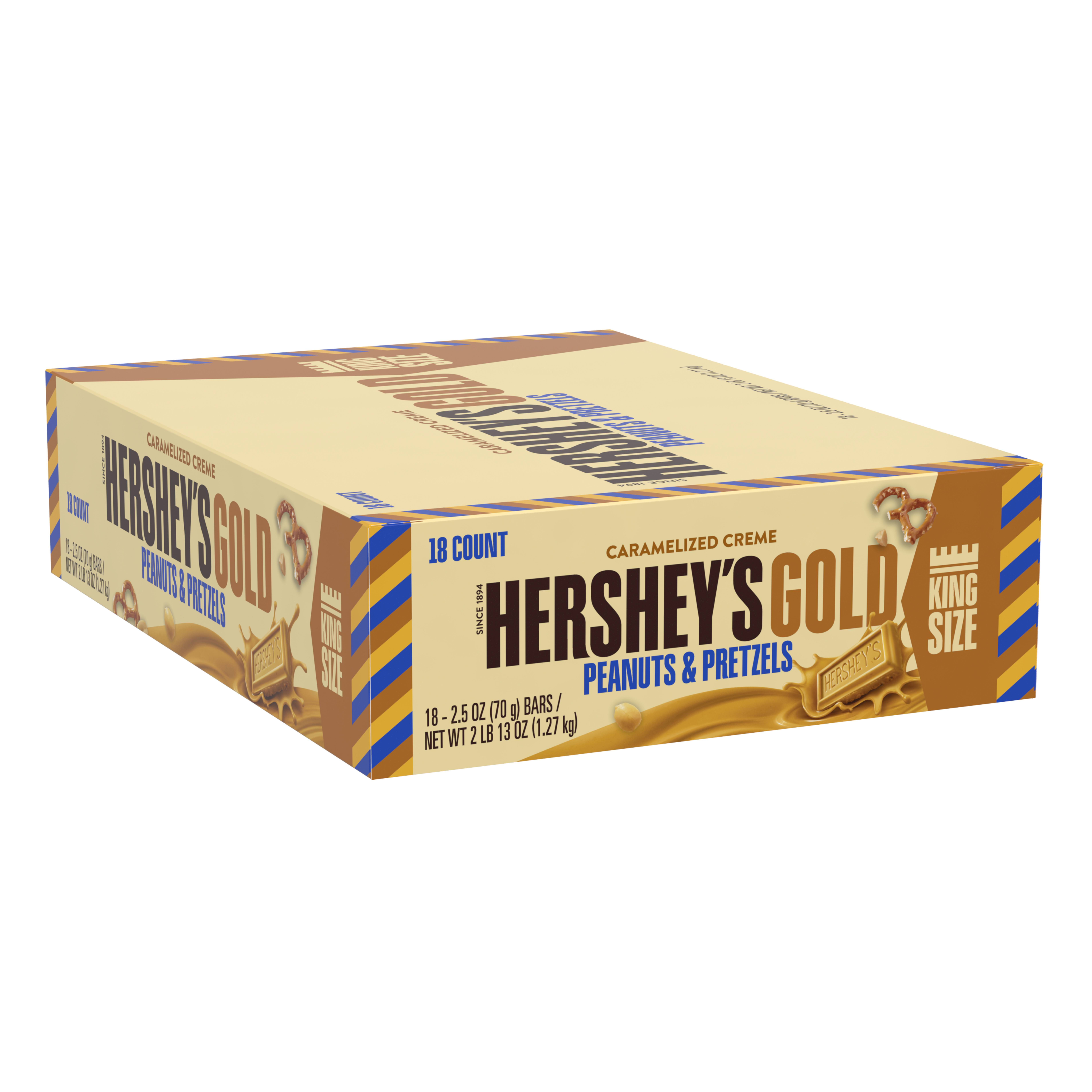 HERSHEY'S GOLD King Size Bar, 2.5 oz, 18 Count