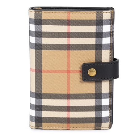 Burberry Vintage Check and Black Leather Folding Wallet (Burberry Check Buckle)