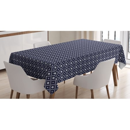 Navy Blue Tablecloth, Chinese Inspired Curved Floral Arrangement Abstract Composition Round Lines, Rectangular Table Cover for Dining Room Kitchen, 52 X 70 Inches, Dark Blue White, by Ambesonne