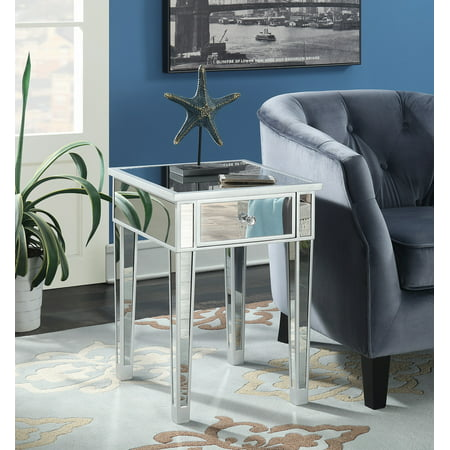 Convenience Concepts Gold Coast Mirrored End Table with Drawer ()