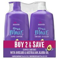 Aussie Miracle Moist with Avocado & Jojoba Oil, Paraben Free Shampoo & Conditioner, 26.2 fl oz Dual Pack