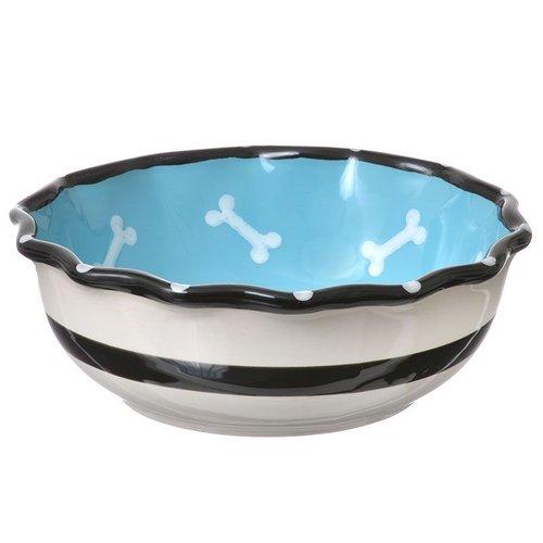 Spot Contemporary Ruffle Dog Dish - Blue 7 Inch Diameter