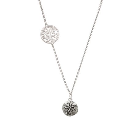 Antiqued Sand Dollar Delicate Tree Of Life Necklace