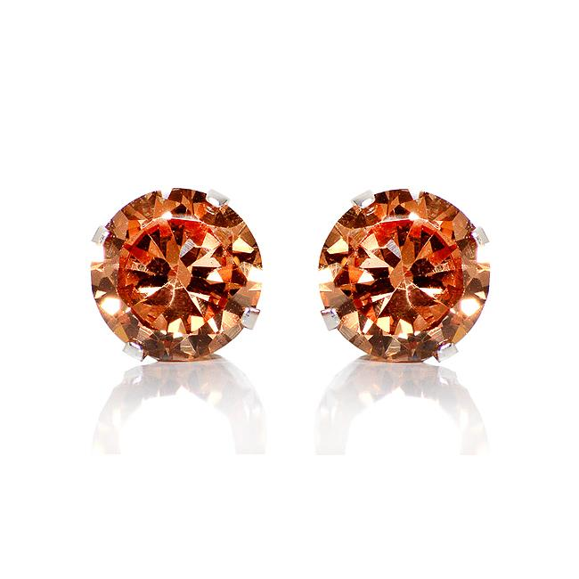 Precious Stars SEZ8RA925 Sterling Silver 8 mm.  Amber Round Cubic Zirconia Stud Earrings