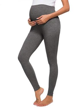 Selfieee Women's Maternity Leggings Active Wear Over The Bump Pants Pregnancy Shaping Over The Belly Pants 00021 Dark Gray Medium