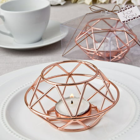 24 Geometric design rose gold metal tealight candle holder from fashioncraft