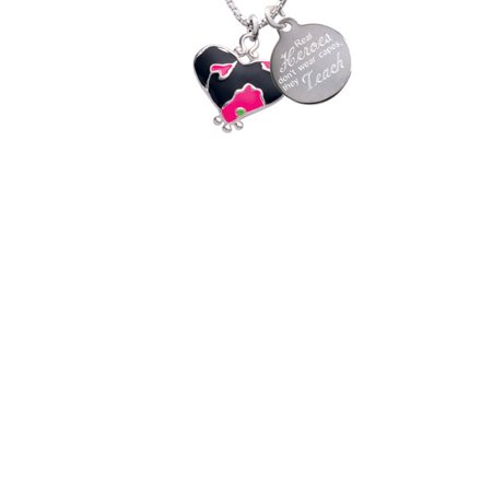 Silvertone Hot Pink Large Cheetah Print Heart Real Heroes Don't Wear Capes They Teach Engraved Necklace (Pink Cheetah Print)