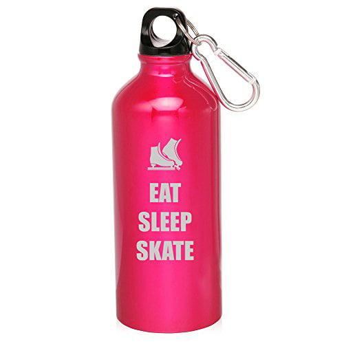 20oz Aluminum Sports Water Bottle Caribiner Clip Eat Sleep Skate Ice Skates (Hot Pink) by