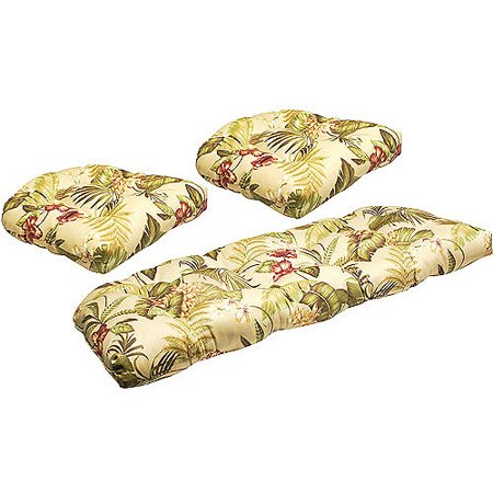 Jordan Manufacturing Floral Outdoor Tufted 3 Piece Wicker Cushion Set Multiple Patterns