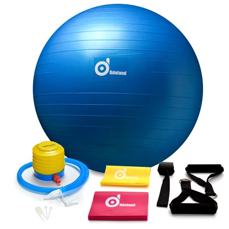 Odoland Yoga Exercise Ball / Balance Ball / Stability Ball Great for Yoga, Fitness, Core Strength Training – Anti Burst & Extra Thick (65 cm, Blue) with 2 Sets Resistance Loop Bands ()
