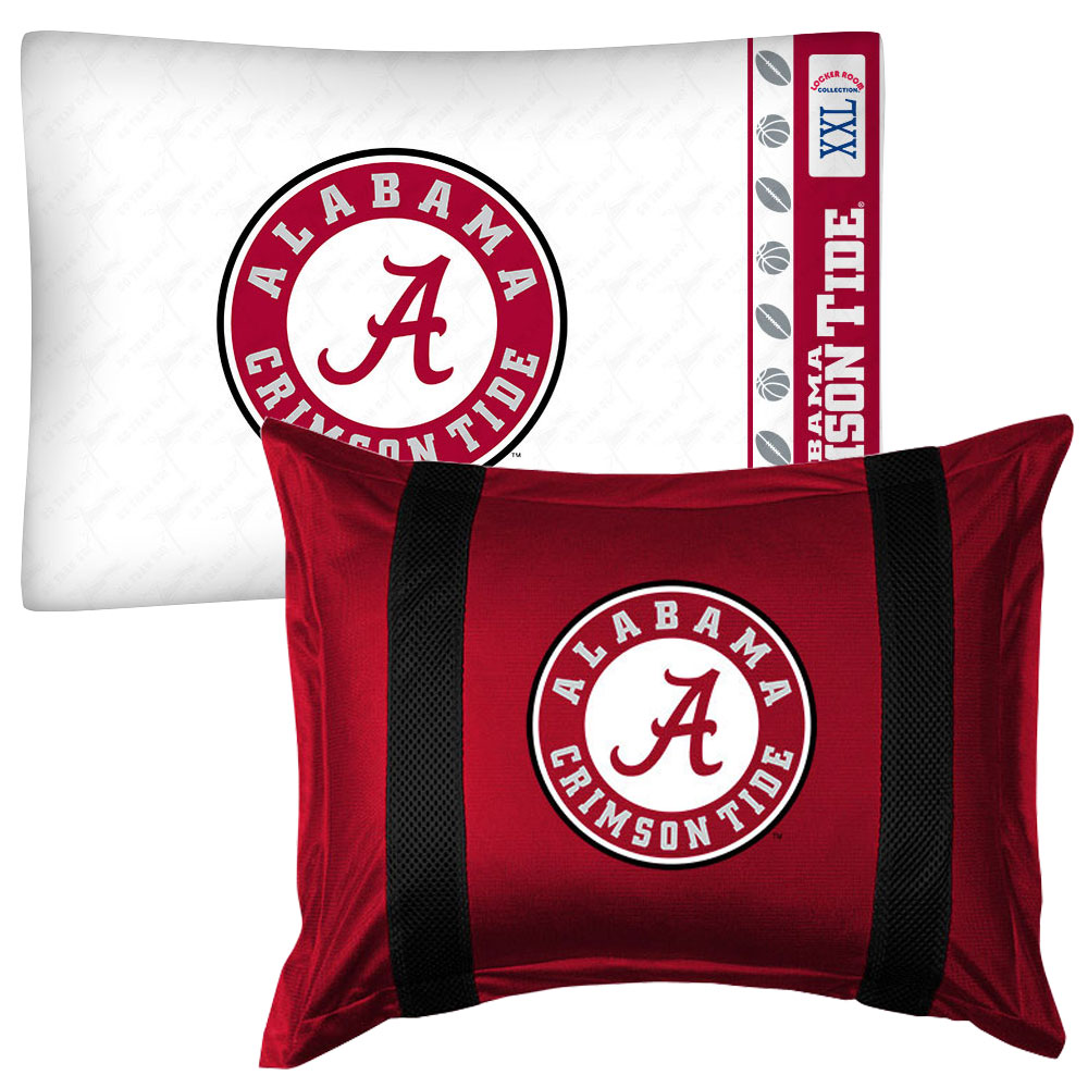 2pc NCAA Alabama Crimson Tide Pillowcase and Pillow Sham Set College Team Logo Bedding Accessories