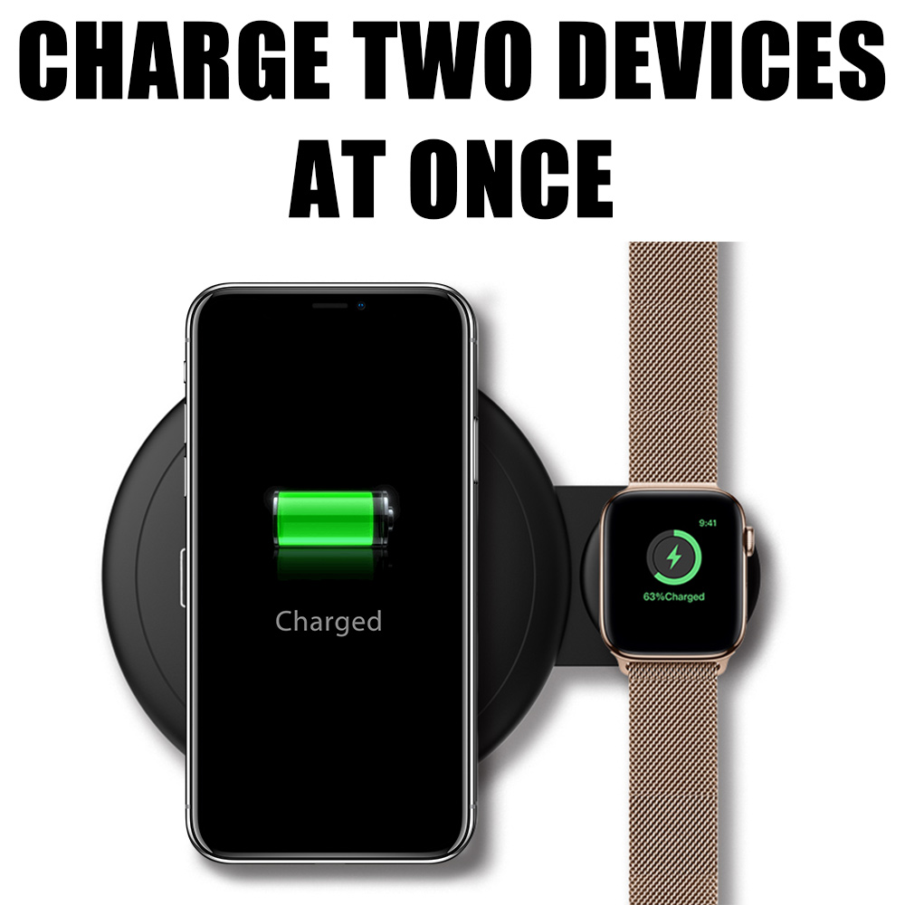 Luxmo For Samsung Wireless Charging Pad 7.5W All Qi-enabled Fast Charger Battery Stand for iPhone X,for iPhone Xs/X /8 Samsung Galaxy S9//S8/S7/Note 8 with iWatch Charger for Series 4,3,2,1,Black