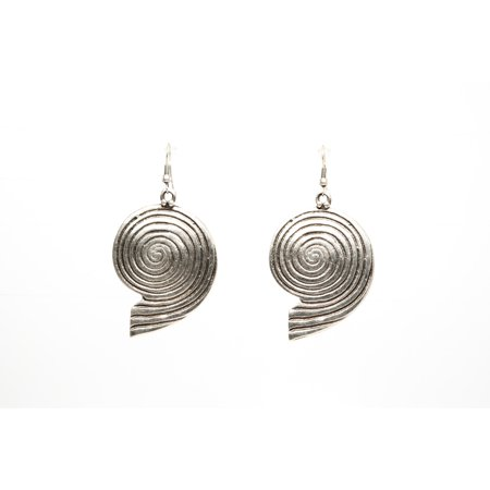 Nautilus Silver Plated Dangle Earrings with Antique Look
