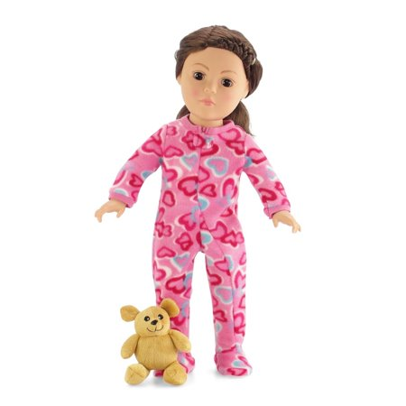 18 Inch Doll Pink Footed Heart Pajamas with Teddy Bear | Clothes Fit American Girl Dolls | Onesie Style | Gift Boxed! ()