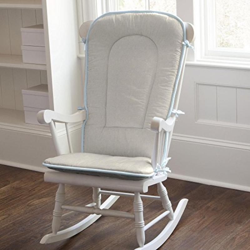 Carousel Light Blue Linen Rocking Chair Pad