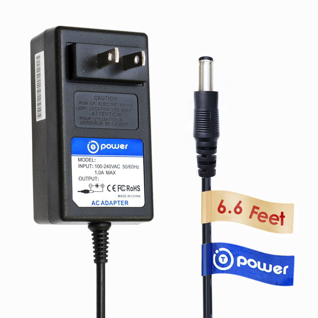 T-Power 12v ( 6.6ft Long Cable ) Ac Adapter For Iomega eGo HARD DRIVE RDHD-U RDHD-U2 12v S/N 94A83233B9 P/N 31759100 / Iomega HDD Scanner Onetouch Visioneer 7100 8100 / Sagem TV Box Dtr67320t Router