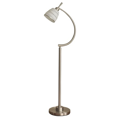 Orillia Contemporary Floor Lamp - Brushed Steel Finish - Frosted Glass Shade