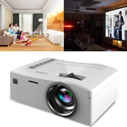 LCD Mini Movie Projector Multimedia Home Theater Video Projector with HDMI Cable, Support 1080P HDMI USB SD Card VGA AV TV Laptop Game iPhone Android Smartphone