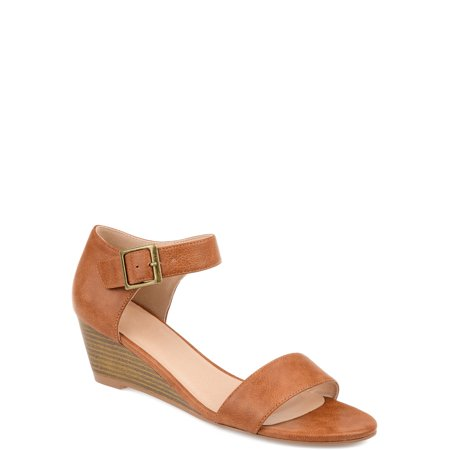 Brinley Co. Women's Open-toe Ankle Strap Wedge - Ankle Strap Leather Wedges