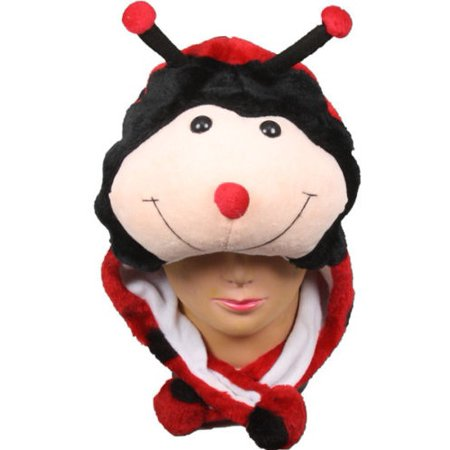 Plush Fleece Animal Hat LADY BUG with PON PONS KIDS AND ADULTS OSFA (Ladybug Knit Hat)