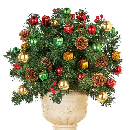Present Pine Bushes with Pinecones, Gold Frost - Indoor or Outdoor Holiday Decoration