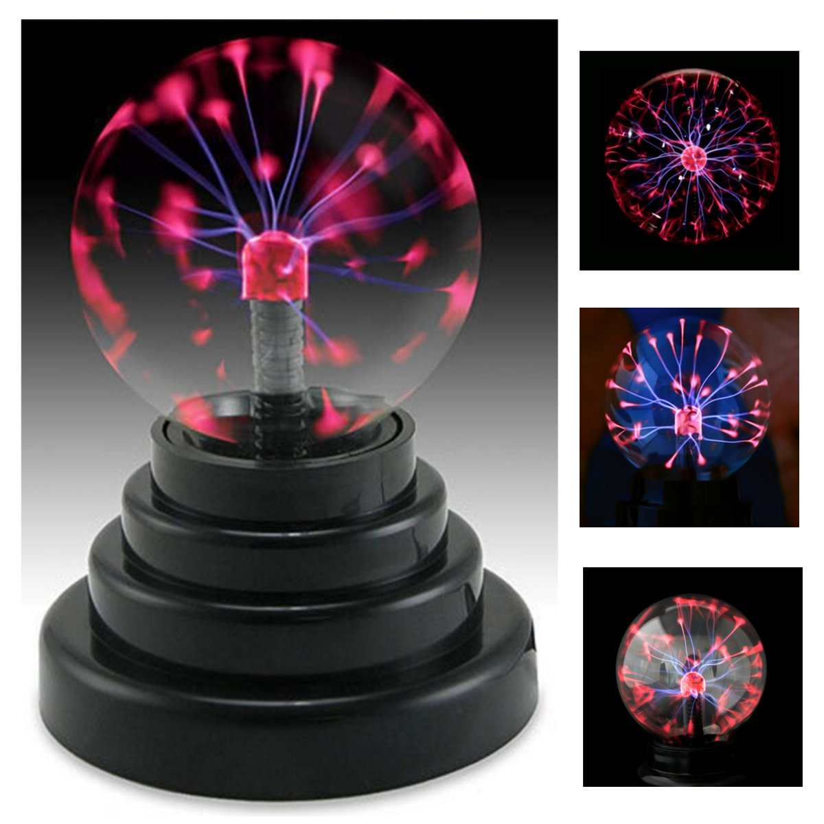 Moaere 3'' Plasma Ball Lamp Large Electric Globe Static Light Sensitive Lightning Glass Sphere with Touch Sound and Mini Tesla Energy Coil is Best Science Toy Nightlight for Kids
