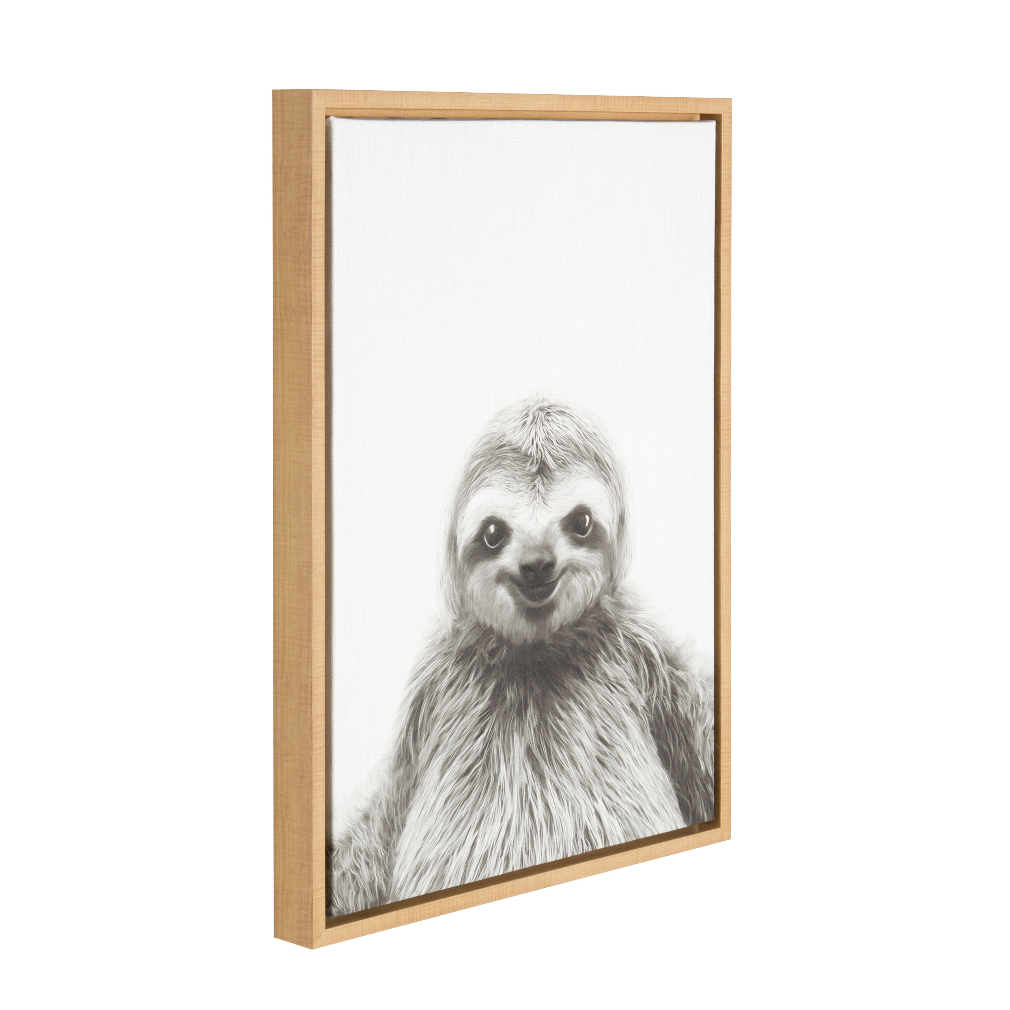 Kate And Laurel Sylvie Sloth Black And White Portrait Framed Canvas Wall Art By Simon Te Tai 18x24 Natural Walmart Com Walmart Com