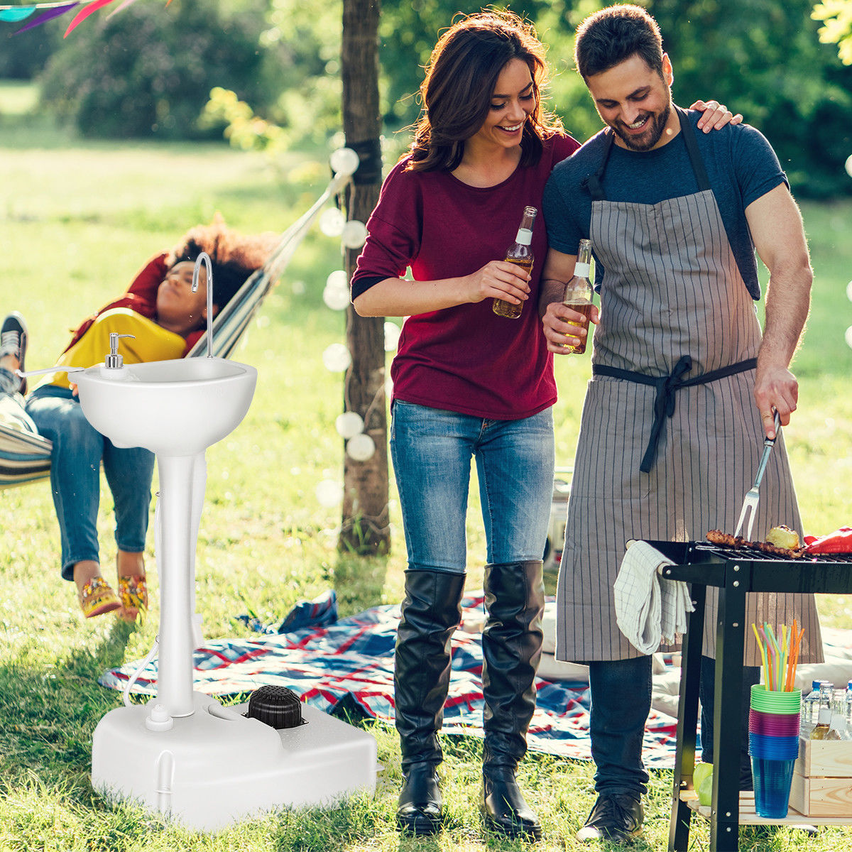 Zimtown 19L Outdoor Wash Basin Sink, Water Tank Faucet Removable, for Portable Tiolet and Camping, Perfect for BBQ, Patio, Backyard, Garden Use