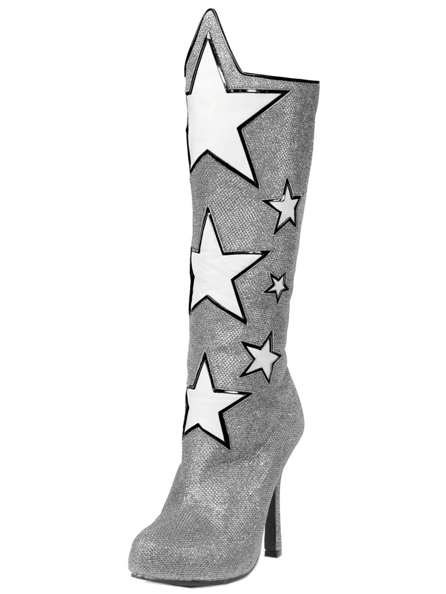 Womens Knee High Boots Star Shoes Wonder Woman Silver Blue or Red 4 Inch Heels