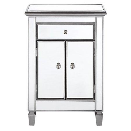 Elegant Lighting Mirrored 1-Drawer, 2-Door Cabinet, Silver