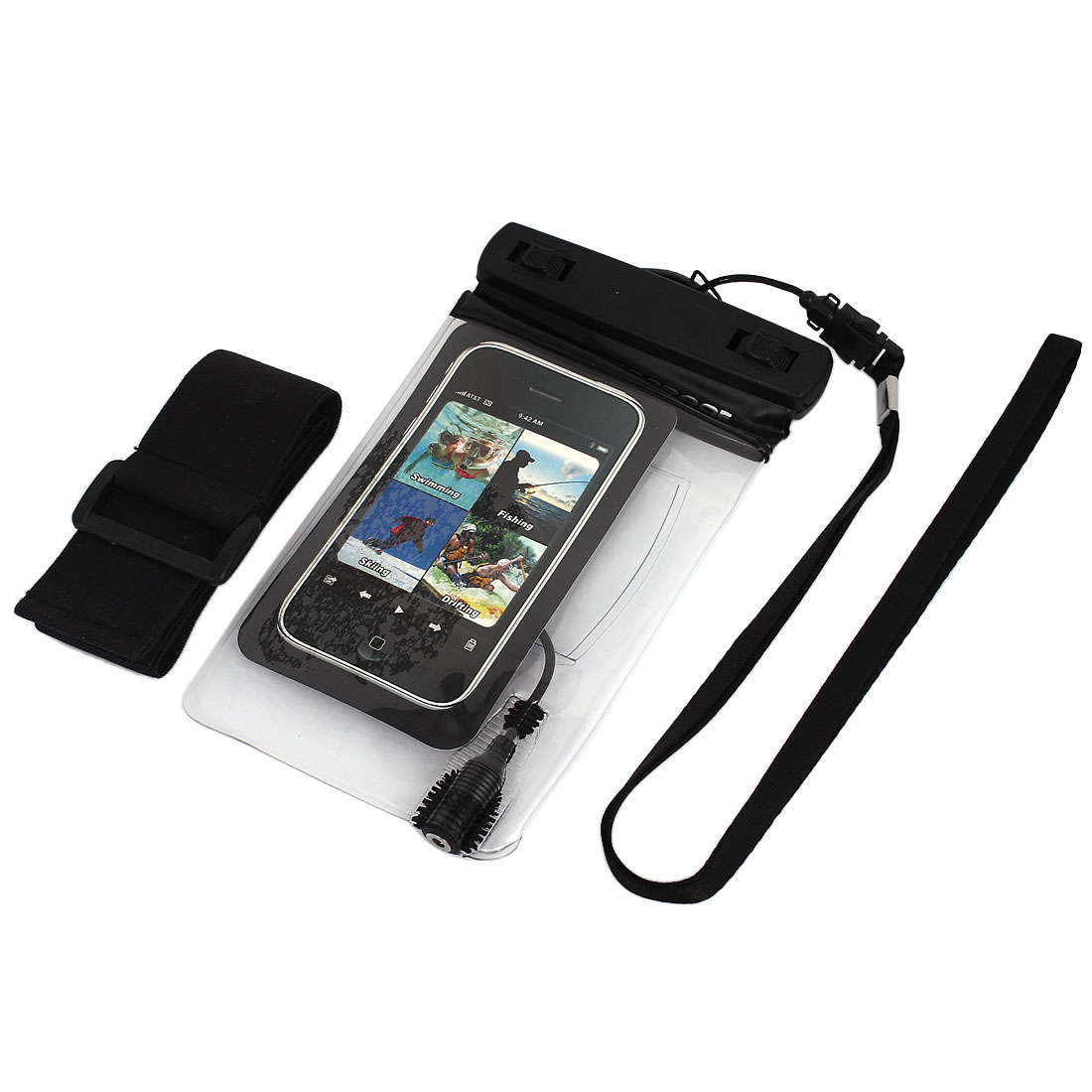 Waterproof Bag Case Holder Protector Black for iPone 4G w Earphone Armband