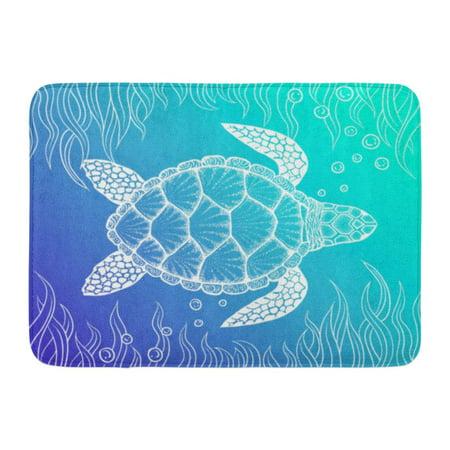 GODPOK Loggerhead Outline Sea Turtle in Line Style Top View Design for Coloring Book of Ocean Cartoon Tribal Rug Doormat Bath Mat 23.6x15.7 inch