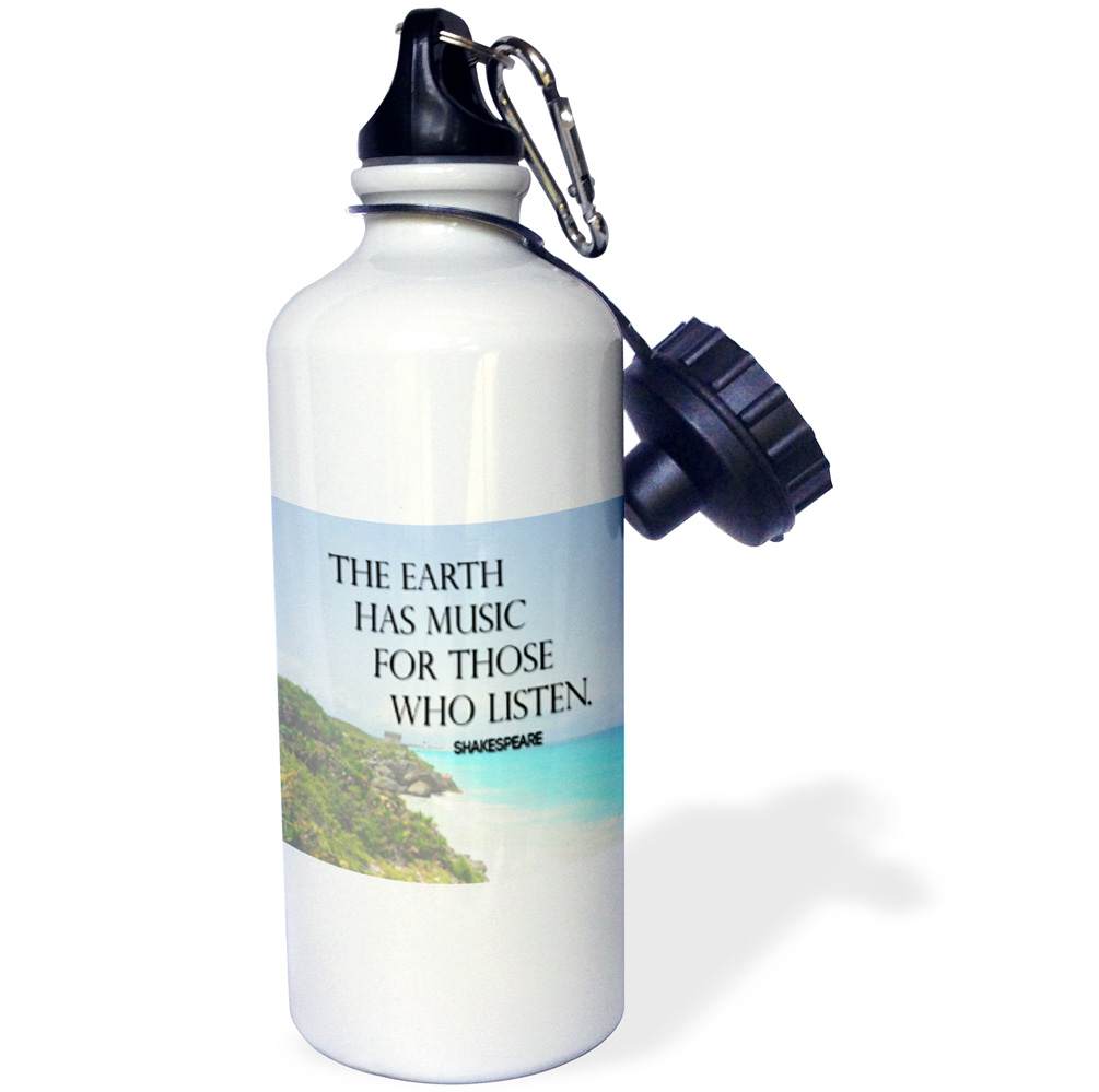 3dRose The earth has music for those who listen  quote beach background, Sports Water Bottle, 21oz