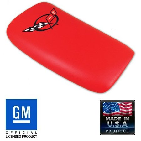 - C5 Corvette Center Console Pad Lid Torch Red Leather with Black Cross Flag Embroidered Emblem Fits: All 97 through 04 Corvettes