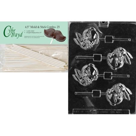 Cybrtrayd Bunny with Bow Lolly 3 Easter Chocolate Candy Mold with 25 4.5-Inch Lollipop Sticks