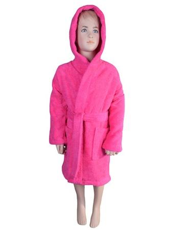 Puffy Cotton Kids Unisex Hoodie Bathrobe 100% Natural Soft Cotton - Hot Pink