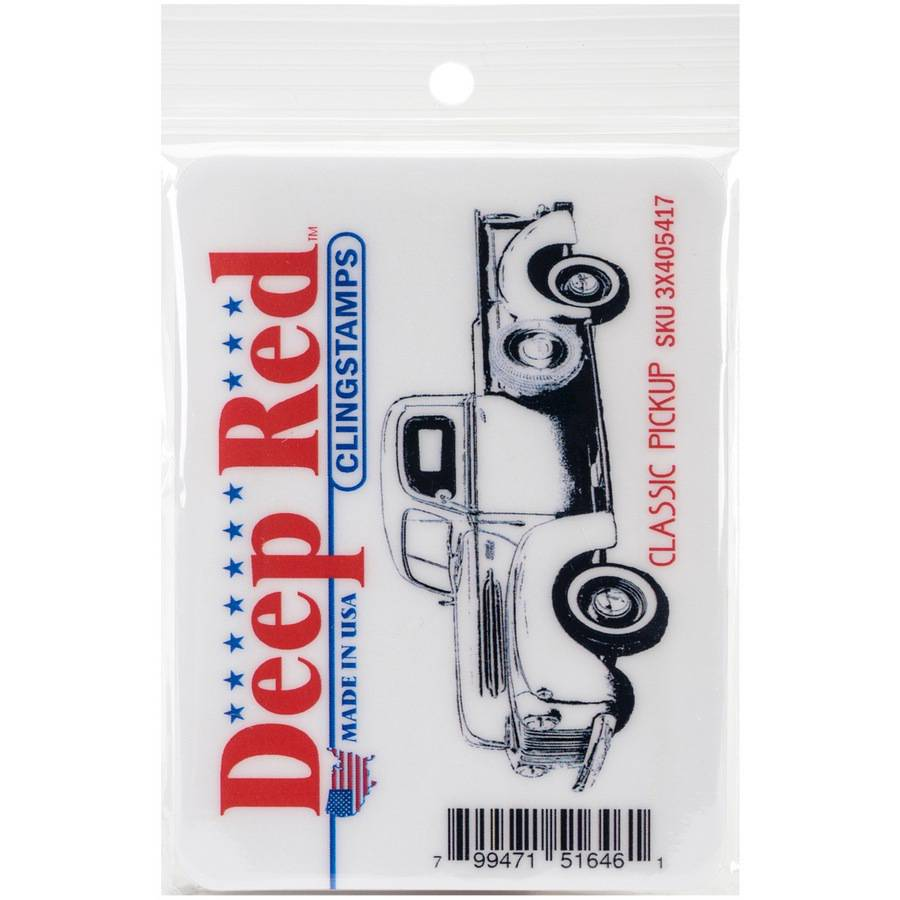 "Deep Red Cling Stamp 3""X1.25""-Classic Pickup Truck"