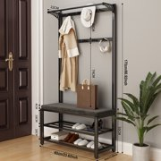 24inch X 67inch Industrial Coat Rack Stainless Steel, Entryway Storage Shelf, Wood Look Accent Furniture with Metal Frame, 3 in 1 Design, Easy Assembly,Black grey,White grey,White blue