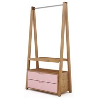 Manhattan Comfort Rockefeller Open Wardrobe Armoire-Color:Nature and Rose Pink