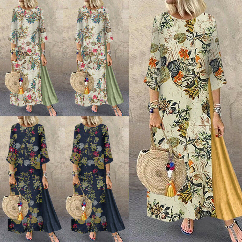 KIDSFORM Women Casual Loose Dress Vintage Long Sleeve Maxi Dresses Cotton Linen Oversize Printed Autumn