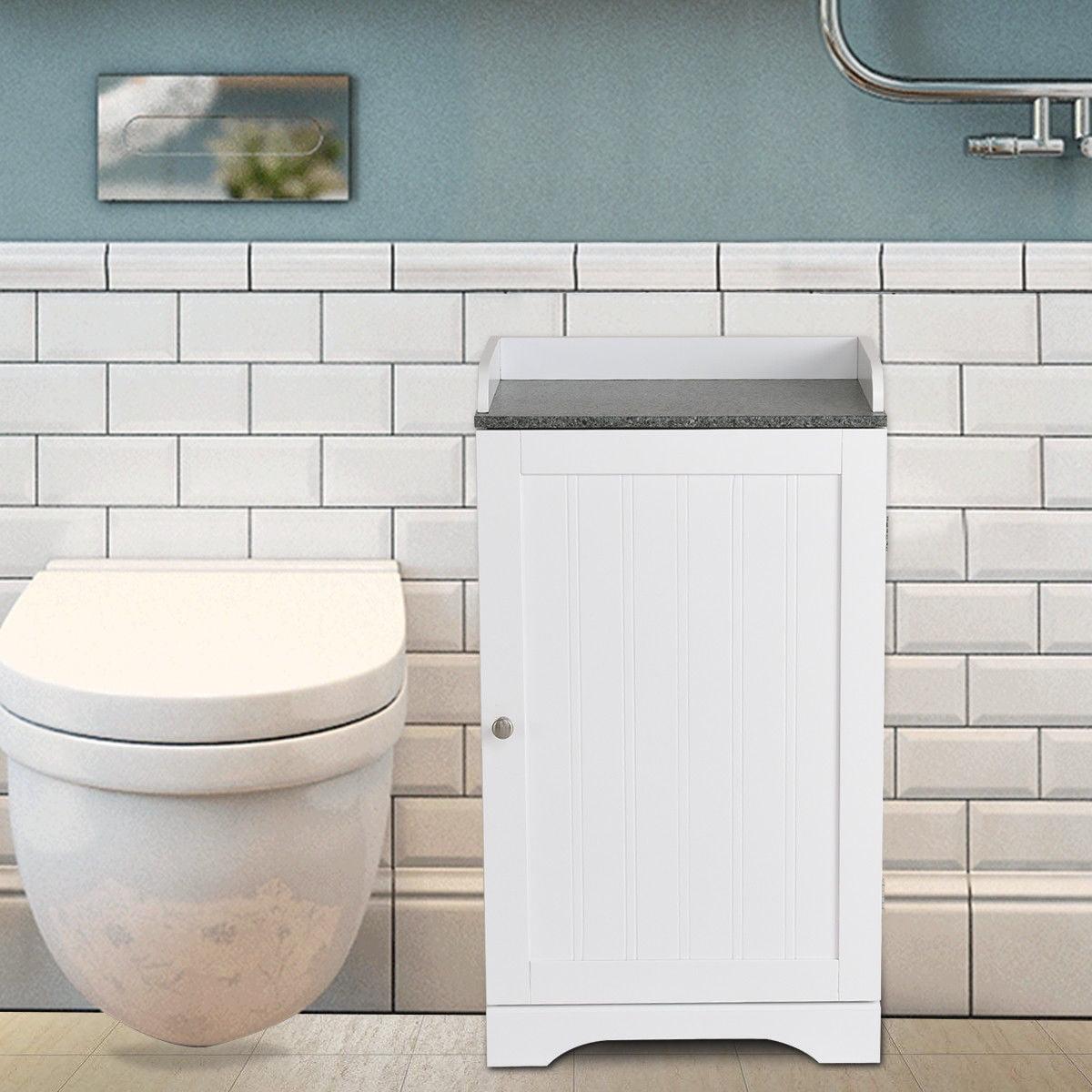 Costway Bathroom Floor Storage Cabinet Freestanding Adjustable Shelves W/Single Door