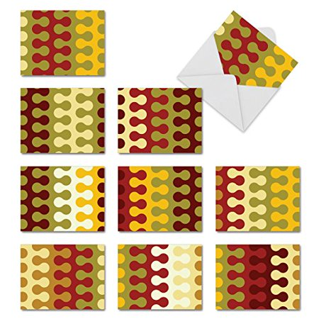 Occasion Shapes ('M10003XB IN THE HOLIDAY GROOVE' 10 Assorted All Occasions Greeting Cards Feature Interlocking Shapes of Color with Envelopes by The Best Card)
